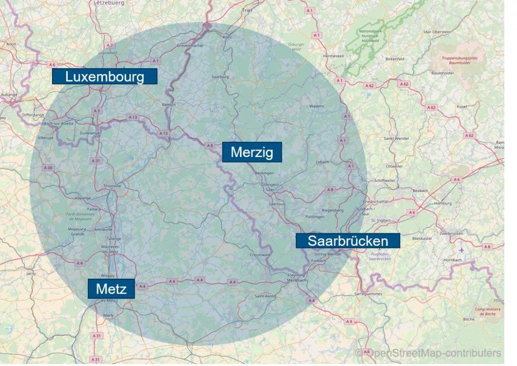 Textfeld: Abbildung 6: Testfeld im Dreiländereck